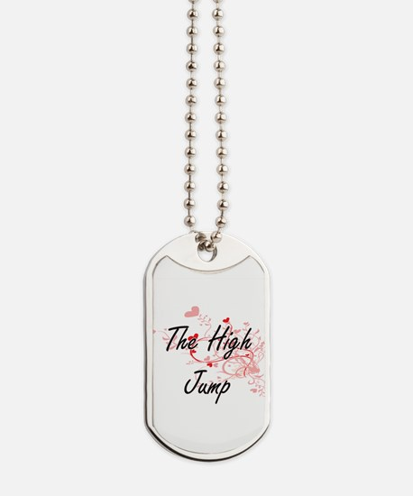 The High Jump Artistic Design with Hearts Dog Tags