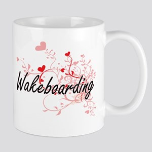Wakeboarding Artistic Design with Hearts Mugs