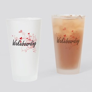 Wakeboarding Artistic Design with H Drinking Glass
