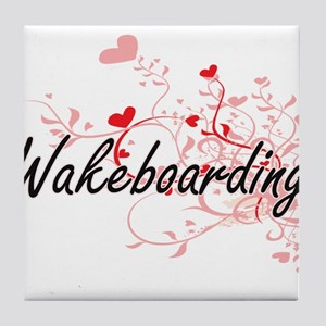 Wakeboarding Artistic Design with Hea Tile Coaster