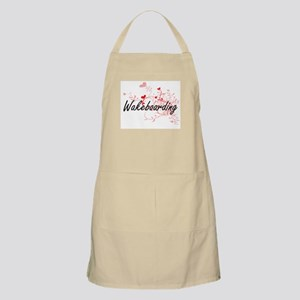 Wakeboarding Artistic Design with Hearts Apron