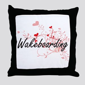 Wakeboarding Artistic Design with Hea Throw Pillow
