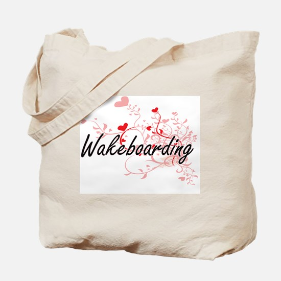 Wakeboarding Artistic Design with Hearts Tote Bag