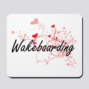 Wakeboarding Artistic Design with Hearts Mousepad