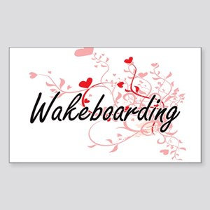 Wakeboarding Artistic Design with Hearts Sticker