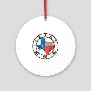 Texas Wrought Iron Barn Art Round Ornament