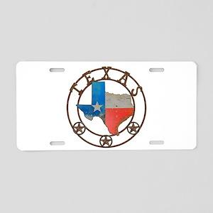 Texas Wrought Iron Barn Art Aluminum License Plate