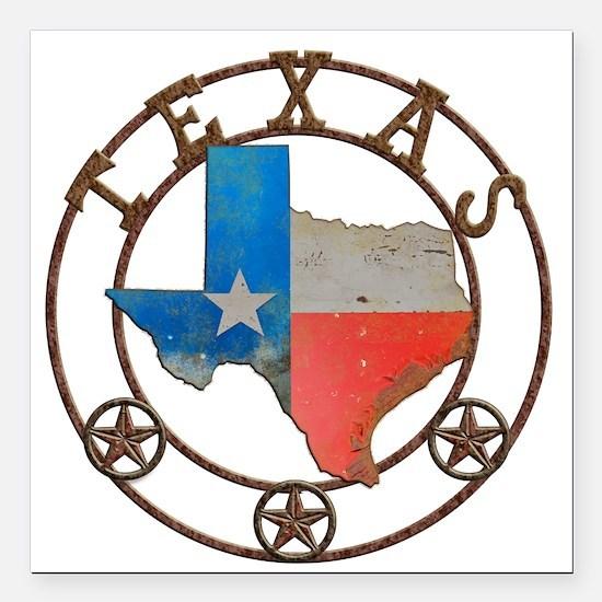 "Texas Wrought Iron Barn Art Square Car Magnet 3"" x"