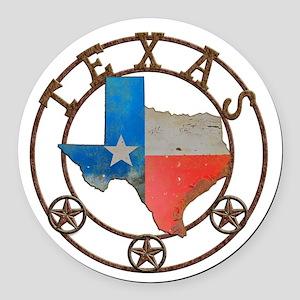 Texas Wrought Iron Barn Art Round Car Magnet