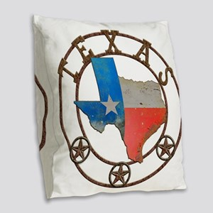 Texas Wrought Iron Barn Art Burlap Throw Pillow