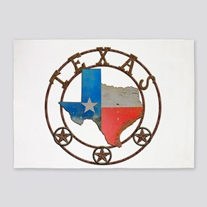 Texas Wrought Iron Barn Art 5'x7'Area Rug