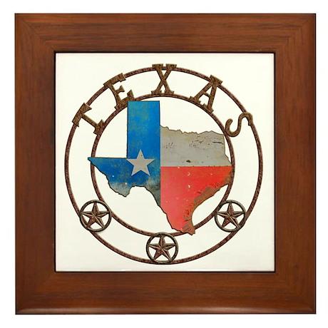 Texas Wrought Iron Barn Art Framed Tile