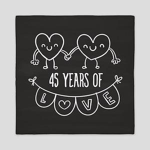 45th Anniversary Gift Chalkboard Heart Queen Duvet