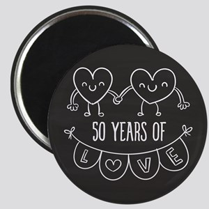 50th Anniversary Gift Chalkboard Hearts Magnet