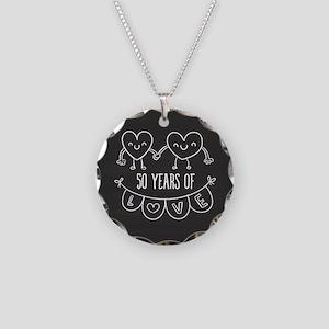 50th Anniversary Gift Chalkb Necklace Circle Charm