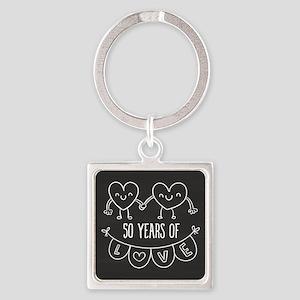50th Anniversary Gift Chalkboard H Square Keychain