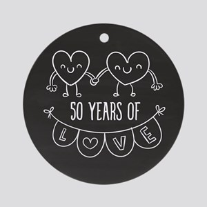 50th Anniversary Gift Chalkboard He Round Ornament