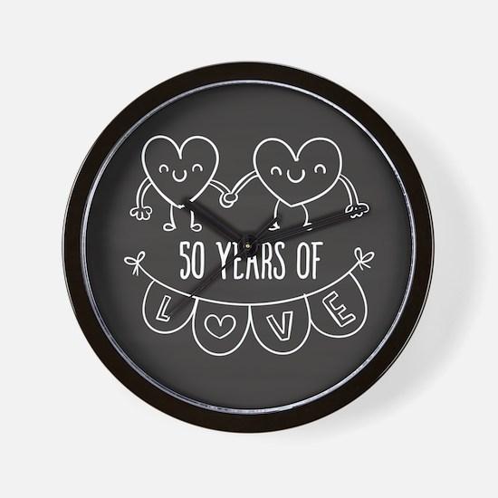 50th Anniversary Gift Chalkboard Hearts Wall Clock