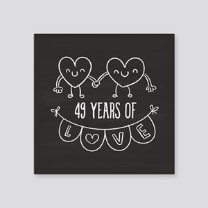 49th Anniversary Gift Chalk Square Sticker 3