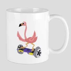 Pink Flamingo on Hoverboard Mugs