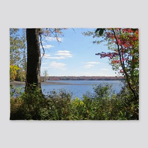 Reservoir Nature Scenery 5'x7'Area Rug