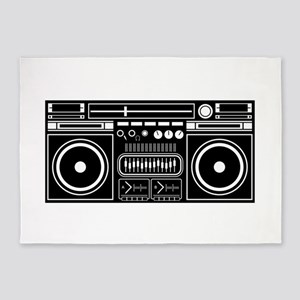 Boombox Tape Double Cassete Music P 5'x7'Area Rug