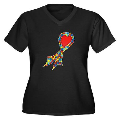 Autism Puzzle Ribbon with Heart Women's Plus Size