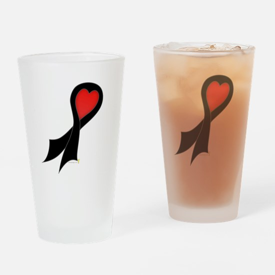 Black Ribbon with Heart Pint Glass