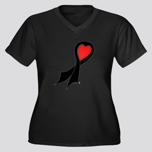 Black Ribbon with Heart Women's Plus Size V-Neck D