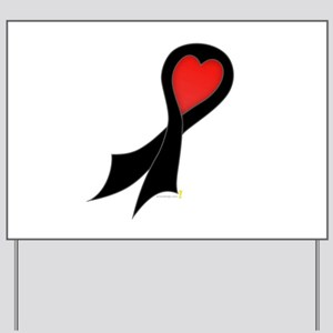 Black Ribbon with Heart Yard Sign