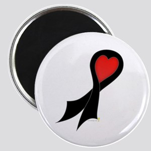 Black Ribbon with Heart Magnet