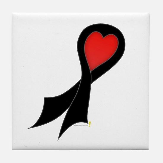 Black Ribbon with Heart Tile Coaster