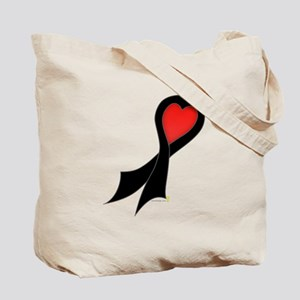 Black Ribbon with Heart Tote Bag