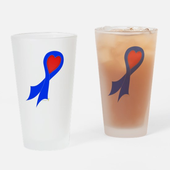 Blue Ribbon with Heart Pint Glass