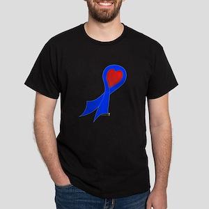 Blue Ribbon with Heart Dark T-Shirt