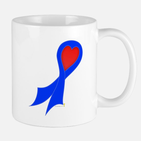 Blue Ribbon with Heart Mug