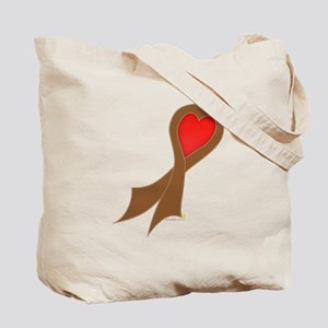 Brown Ribbon with Heart Tote Bag