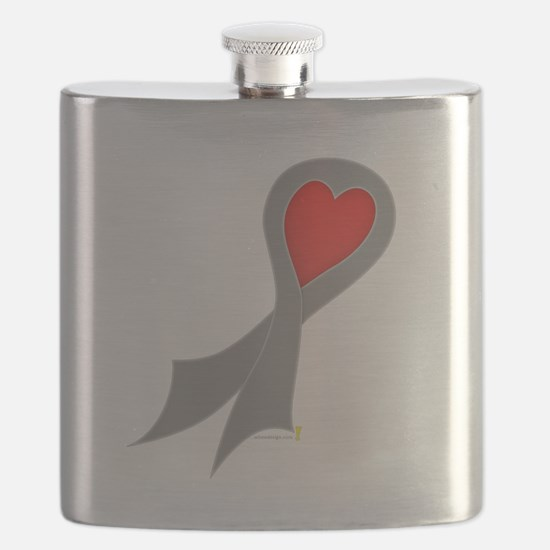 Gray Ribbon with Heart Flask