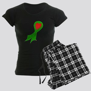 Green Ribbon with Heart Women's Dark Pajamas
