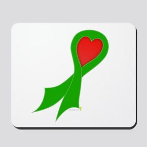 Green Ribbon with Heart Mousepad