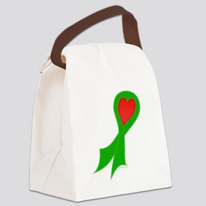 Green Ribbon with Heart Canvas Lunch Bag