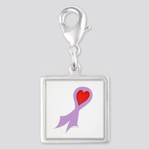 Lavender Ribbon with Heart Silver Square Charm