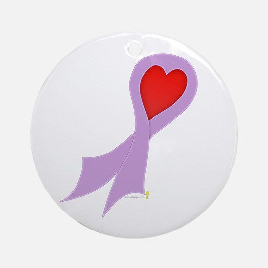Lavender Ribbon with Heart Round Ornament