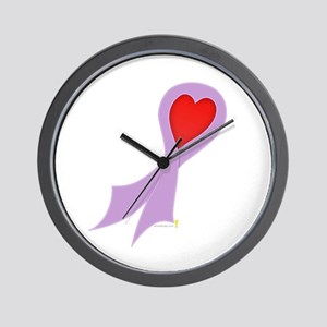 Lavender Ribbon with Heart Wall Clock