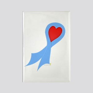 Light Blue Ribbon with Heart Rectangle Magnet