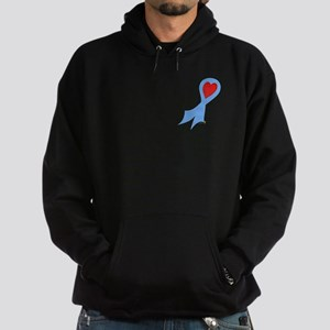 Light Blue Ribbon with Heart Hoodie (dark)