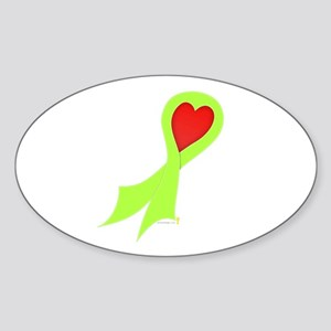 Lime Green Ribbon with Heart Oval Sticker