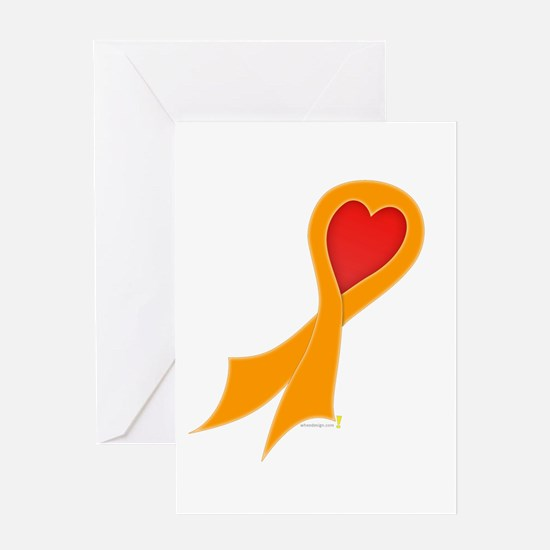 Orange Ribbon with Heart Greeting Card