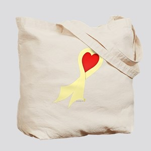 Pale Yellow Ribbon with Heart Tote Bag