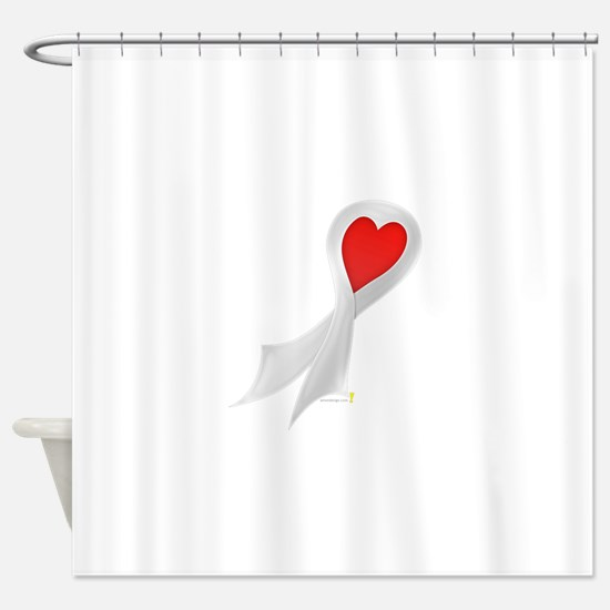 Pearl Ribbon with Heart Shower Curtain